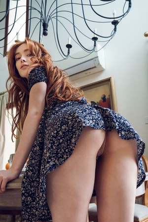 Gorgeous ginger takes off summer dress and slips panties off to finger twat