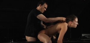 Brunette fucked in both dripping wet holes by dominant man and also got her butt spanked