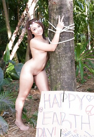 Small-tittied worship wants to safe the trees and gets naked in protest