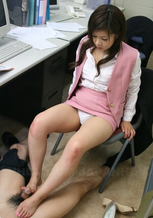 Japanese secretary is happy to help her boss cum with mouth and moreover feet