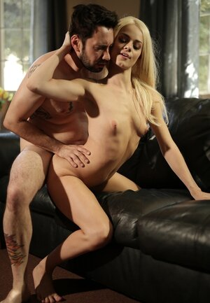 Adorable blonde Elsa Jean and besides vitiated stepdad have awesome sex on leather sofa